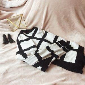 Windowpane striped sweater